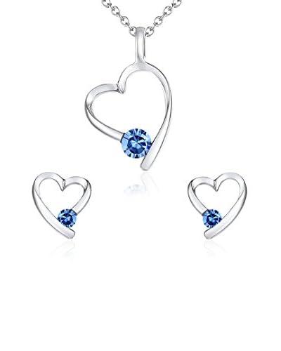 Lilly & Chloe Conjunto de collar, colgante y pendientes  Plateado / Azul