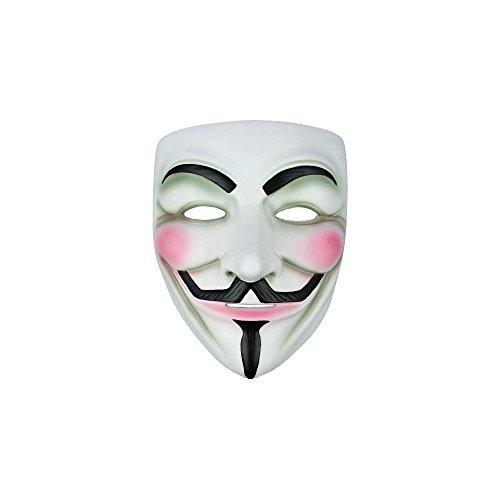 V per Vendetta Guy Fawkes di travestimento maschera di Halloween, plastica, White, taglia unica