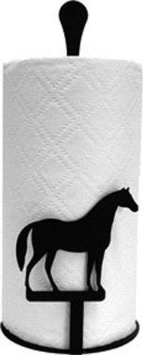 Iron Counter Top Horse Paper Towel Holder - Black Metal