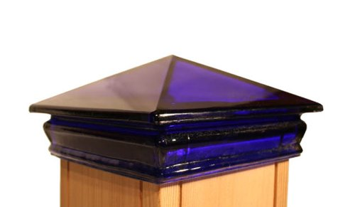 Woodway Products 870.3085 4-by-4-Inch Glass Pyramid Post Cap, Blue
