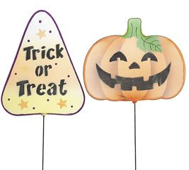Pumpkin & Candy Corn Shaped Metal Stakes Halloween