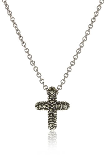 Judith Jack Sterling Silver Marcasite and Crystal Pave Reversible Cross Pentant Necklace, 16