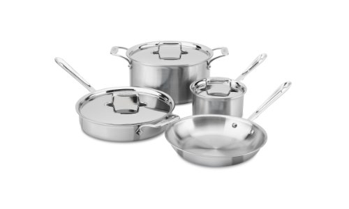 All-Clad Brushed Stainless D5 7-Piece Cookware Set