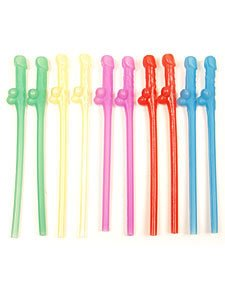 Hott Products Party Pecker Straws, Neon Colors, 10 Pieces/Bag, 4-Pack