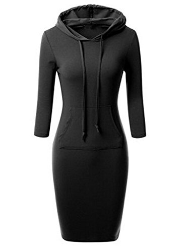 Women's Bodycon 3/4 Raglan Sleeve Hoodie Dress with Kangaroo Pockets (Pilot Tray Liner compare prices)