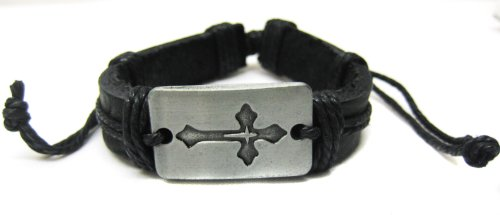 Metal Cross Black Leather Bracelet Costume Accessory