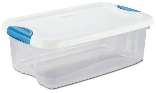 Sterilite 18828012 6-Quart See-Through Latch Box with White Lid and Peacock Latches (Plastic Container With Lid compare prices)