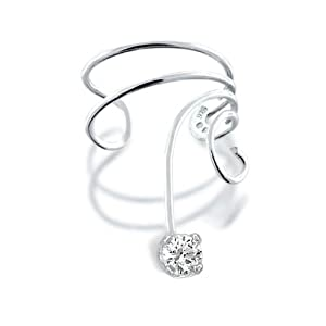 Bling Jewelry Ear Cuff Right Ear Cubic Zirconia Wave 925 Sterling Silver