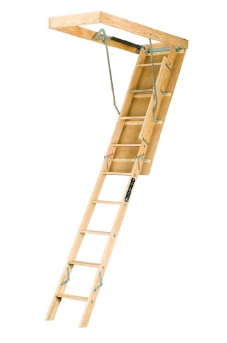 Louisville Ladder L224P 250-Pound Duty Rating Wooden Attic Ladder Fits 8-Foot 9-Inch to 10-Foot Ceiling Height, 22.5-by-54-Inch Ceiling Rough Opening