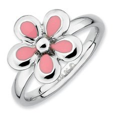Silver Stackable Pink Enameled Flower Ring. Sizes 5-10 Available