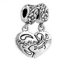 Stone River Jewellery Heart Mother & Daughter Combination 2 Piece Charm Bead (Bead Fits Pandora, Chamilia,Troll & Biagi standard size bracelet) Beads are seperate supplied in a organza pouch