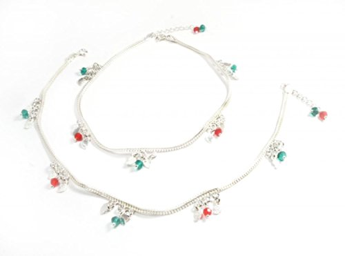 Sleek Shophomely Sleek Modernistic Sterling Sliver Anklet ( Size : Free, Color : Silver, Red, Green) (Multicolor)
