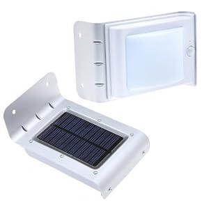 3pcs cool white Waterproof Solar Motion Detection Sensor Light 16 LED Wall Illuminate Garden Yard Lamp,Silver [Energy Class A+++] from MUMENG