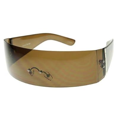 Designer Inspired Monoblock Full Shield Fashion Sunglasses (Brown)