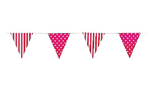 Hot Pink Striped & Polka Dot Pennant Banner (9 Ft)- Easter & Party Decorations