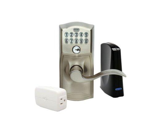 Schlage Link Wireless Keypad Entry Lever Lock Starter Kit System, Satin Nickel
