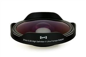Opteka OPT-SC37FE Platinum Series 0.3X HD Ultra Fisheye Lens for 25mm, 30mm, 30.5mm & 37mm Digital Video Camcorders