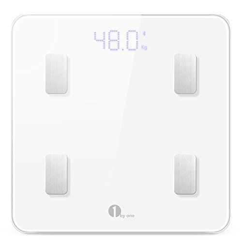 1byone Digital Smart Scale Body Scale Bathroom Scale Wireless Body Fat Scale with IOS and Android App to Manage Body weight, Body Fat, Water, Muscle Mass, BMI, BMR, Bone Mass and Visceral Fat, White