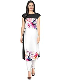 ZIYAA White Color Half Sleeve AndBoat Neck Faux Crepe Kurti - B01DY7C5WQ