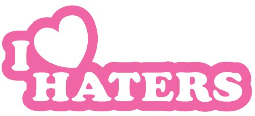 I Love Haters Aufkleber (Rosa) Size: 21.5x9.2cm Decal, sticker, die cut,