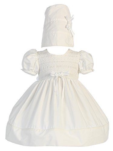 Baby Girl White Cotton Smocked Short Gown Christening with Hat S (3-6 Month) Gown Hat