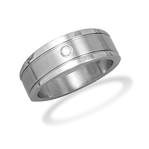 Stainless Steel and CZ Mens Ring 316l Stainless Steel Tapered Ring With Cz - Size 10 - JewelryWeb