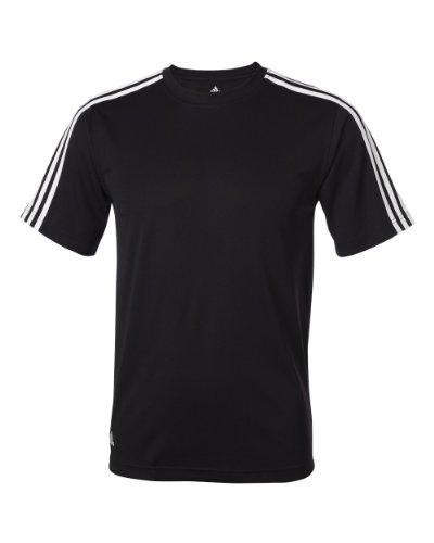 Adidas Climalite 3-Stripes Golf Tee (Black/White/White) (Medium)