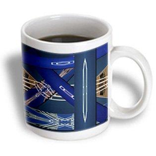 Jos Fauxtographee Abstract - Blue And Tan Rectangles Made Of White Pipes And Given Depth - 11Oz Mug (Mug_39134_1)