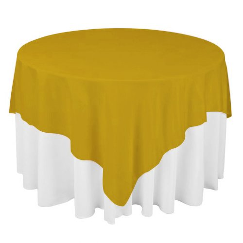Koyal 80 By 80-Inch Organza Square Table Cover Overlay, Gold front-331751