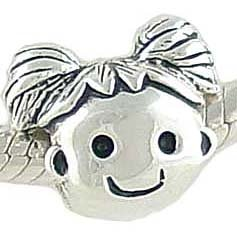 Sterling Silver HAPPY GIRL Bead compatible with 3mm Charm Bracelet