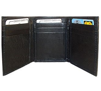 Mens Trifold Lambskin Leather Credit Card 4
