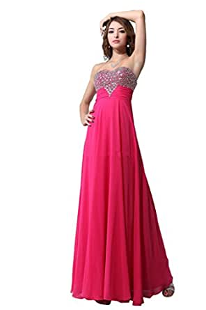 Hot Pink Prom Dresses 2015 For Women Crystal Beaded Top