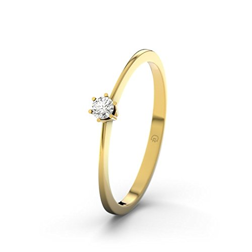 21DIAMONDS Women's Ring We VVS1 0.05 CT Brilliant Cut Diamond Engagement Ring, 9ct Yellow Gold Engagement Ring