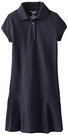 Dockers Big Girls'  Short Sleeve Pique Polo Dress With Pleats, Navy, Small