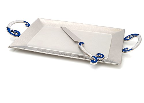 Challah Tray and Knife Set for Shabbat! Magnificent Hammered Stainless Steel Challah Tray with Blue Enamel Swirl Handles, and Matching