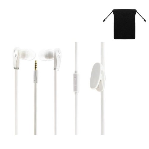 Super Bass 3.5Mm Stereo Handsfree Headset Earbuds Earphones Headphones W/ Microphone For Amazon Kindle Fire Hdx 8.9 ( White ) + Carry Bag + Stars Strips Wristband