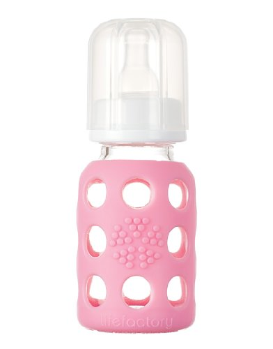 Lifefactory 4-Ounce Glass Baby Bottle with Silicone Sleeve and Stage 1 Nipple, Pink