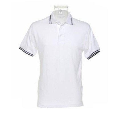 Kustom Kit Mens Tipped Piqué Short Sleeve Polo Shirt (S) (White/Navy)