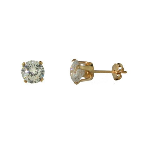 Mens 14K Gold Filled Round CZ 6mm Stud Earrings