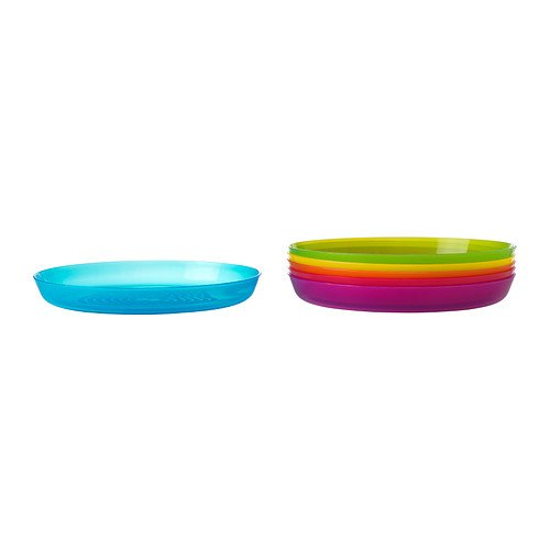 Ikea Kalas 501.929.59 BPA-Free Plate, Assorted Colors, Set of 2, 6-Pack - 1