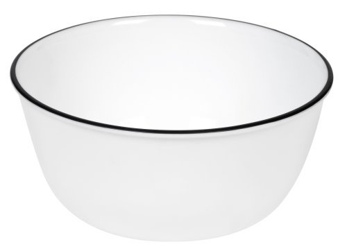 Corelle Livingware 28-Ounce Super Soup/Cereal Bowl, Classic Caf¿ Black Rim Only