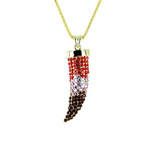 Red on Gold Plated Small Bling Claw Tusk Horn Necklace