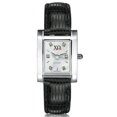 Chi Omega Women's Mother of Pearl Quad Watch with Diamonds & Leather Strap (Chi Omega Watch compare prices)