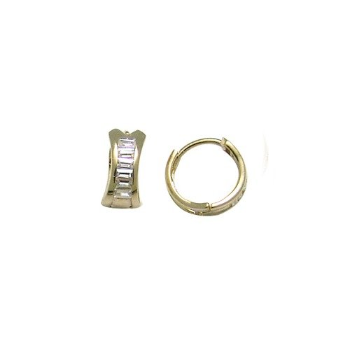 FreshTrends Sparkling Faceted Cubic Zirconia 14KT Yellow Gold Huggie Earrings