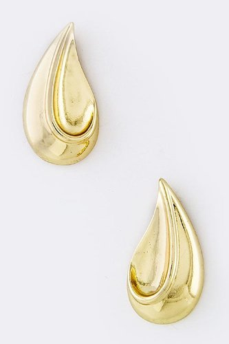 Trendy Fashion Jewelry Teardrop Dimpled Earrings By Fashion Destination | (Gold) front-340520