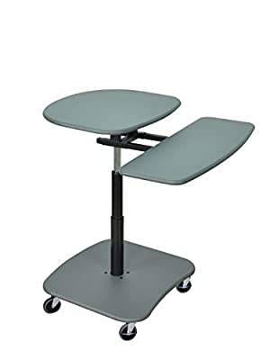 Luxor Mobile Adjustable Height Multimedia Computer Desk Workstation Carts Stand with Pullout Keyboard Tray 2 Pack