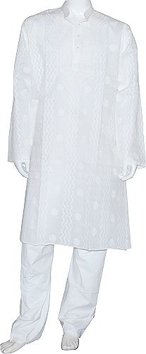 Casual Dress Men Cotton Clothing Embroidered Kurta Pajama Long Sleeve Size L (chgkp022)
