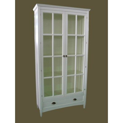 Tall Bookcase with Glass Door in White (White) (82