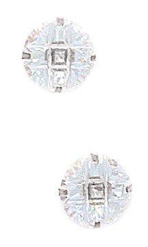 14k White Gold 9mm 9 Segment Round CZ Light Prong Set Earrings - JewelryWeb