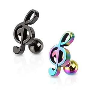 Acier IP Treble Clef Music Note Tragus / Cartilage Piercing chirurgical 316L Stud-...